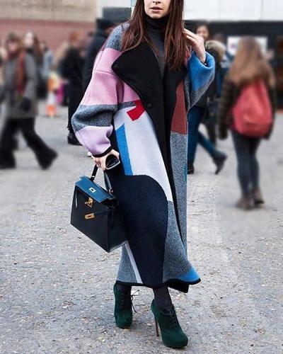 Fashion Color Matching Lapel Wool Long Coat