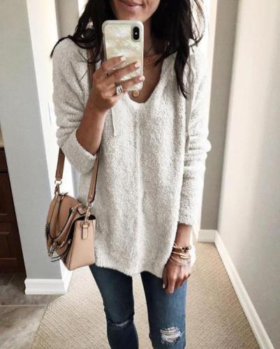 Solid Vintage Long Sleeve Hoodie V Neck Warm Sweatershirt