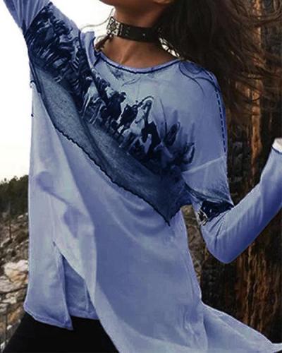 Vintage Graphic Long Sleeve Slit Shirts & Tops