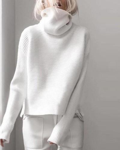 High Collar Open Long Sleeve Wild Sweater