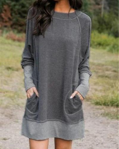 Plus Size Long Sleeve Pocket Casual Blouses Dresses