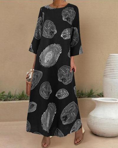 Casual Printed O-neck Side Pockets 3/4 Length Sleeve Maxi Dress