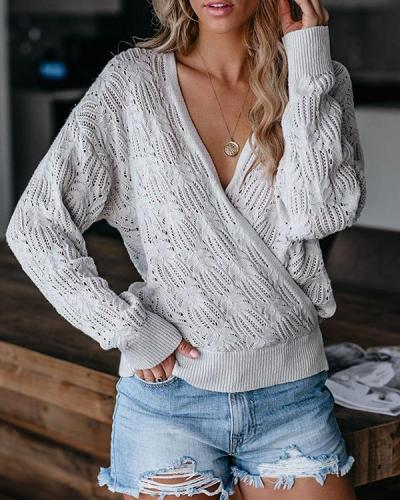 Graphic Knitted V Neck Hollow Out Bat Sleeve Casual Pullover