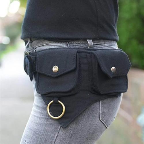 Women's Retro Solid Color Multifunctional Storage Belt Bag