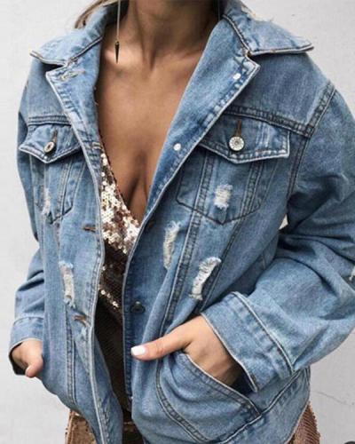 Women's Denim Jacket Regular Solid Colored Daily Denim Outerwear