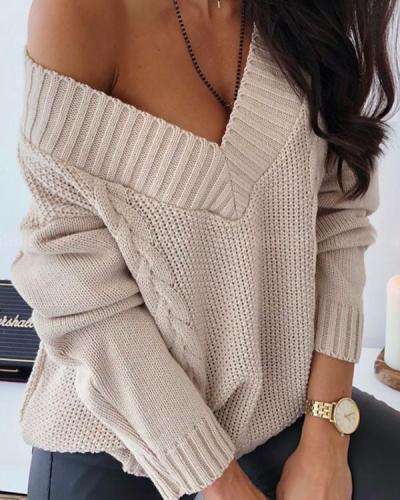 V-Neckline Solid Casual Loose Off Shoulder Sweaters