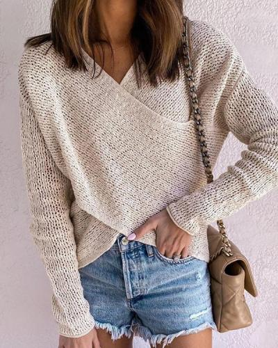 Women's V Neck Chunky Knit Front Cross Knitted Pullover