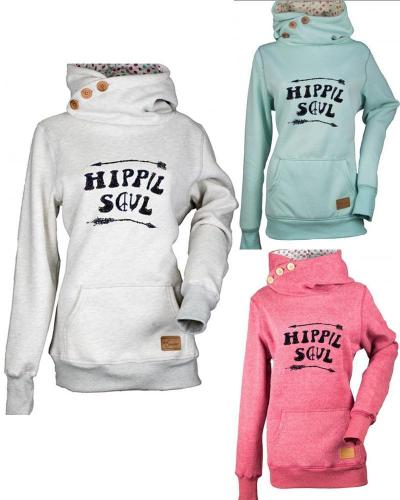 Hippie Soul Solid Women Pocket Hoodie Sweater Shirts & Tops