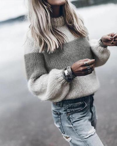 High Neck Color Block Patchwork Sweaters
