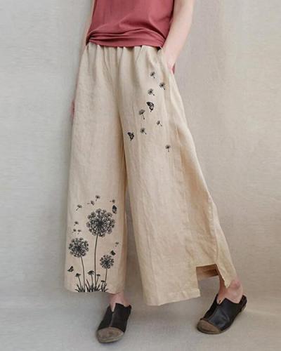Womens Loose Casual Print Linen Cotton Wide Leg Pants