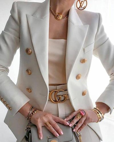 Long Sleeve Lapel Double Breasted Suit Jackets