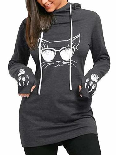 Women's Cat Print Hoodies Pullover Cute Thumb Hole Hooded Sweatshirts