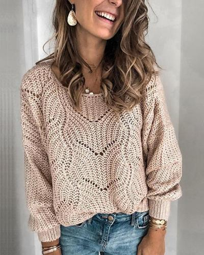 Women Casual Sexy Solid Color Sweater