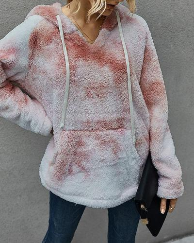 Plush Tie-dyed Print Long Sleeve Casual Hoodie For Women
