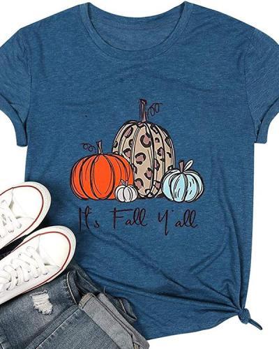 Women Pumpkin Print Crew Neck Short Sleeve Halloween T-Shirts