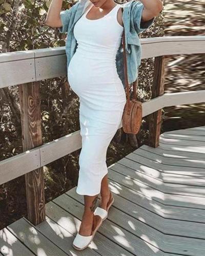 Maternity Casual Sundress Bodycon Sleeveless Dress