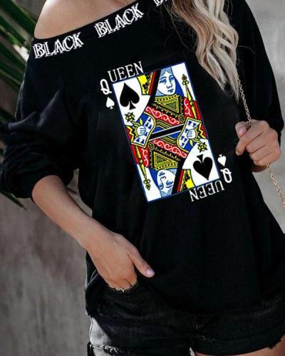 Women Poker Print Casual Daily Long Sleeve Sweatshirts