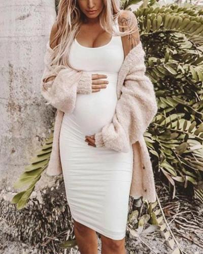 Maternity Casual Sundress Bodycon White Sleeveless Dress