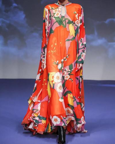 Women Vintage Plus Size Flower Print Half Sleeve Maxi Dress