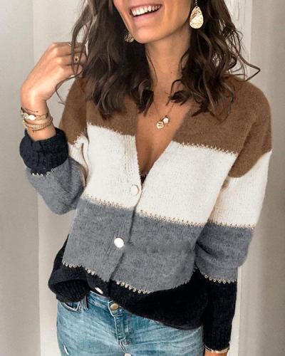 Fashion Cardigan Stripe Button V-neck Sweater