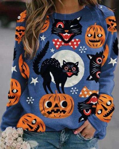 Halloween Pumpkin Pattern Long Sleeve Sweatshirts