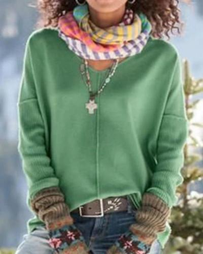 Womens Fall Clothing Green Knitted Simple Sweaters