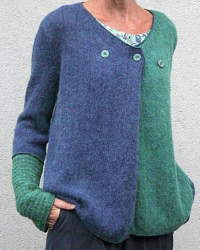 Women Buckle Color Block Sweaters