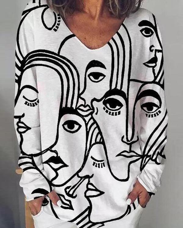 Women Print Long Sleeve Irregular Plus Size Fashion Blouse