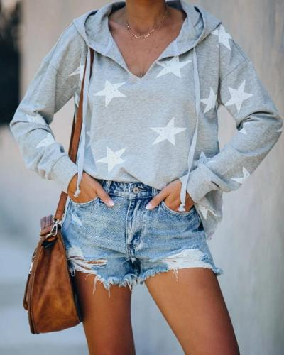 Women Star Print Casual Long Sleeve V Neck Loose Hoodies Sweatshirts