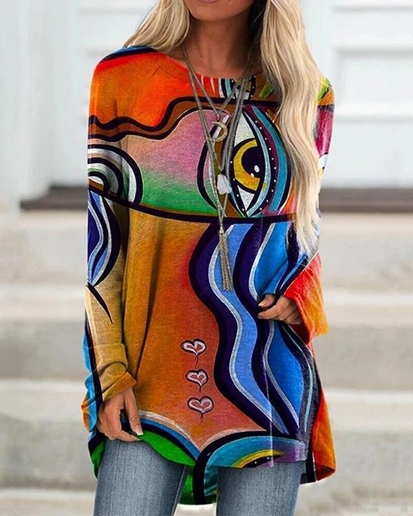 Graffiti Print Long Sleeve Irregular Plus Size Blouse