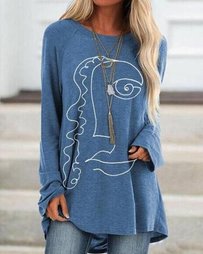 Women Print Long Sleeve Irregular Plus Size Blouse