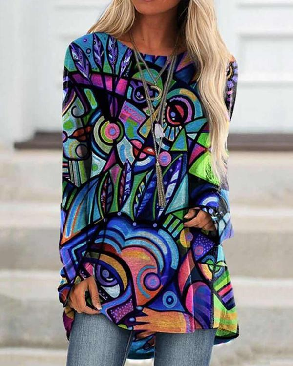 Women Graffiti Print Long Sleeve Irregular Plus Size Blouse