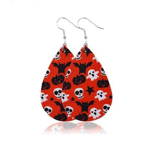 Halloween Graphic Print Fashion PU Leather Earrings(11 Colors)