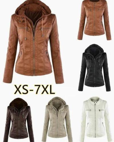 Hoodie Solid Long Sleeve Pockets Zipper Winter Plus Size Jacket Coat