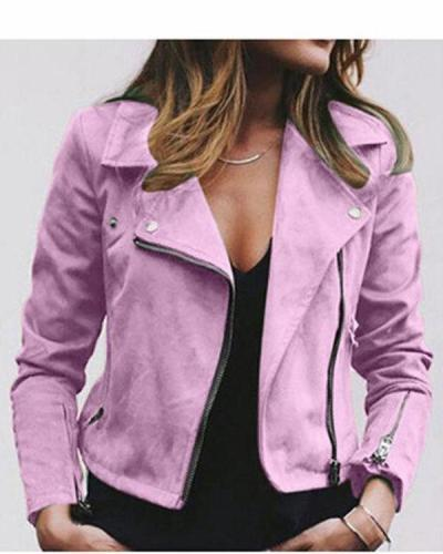 Solid Casual Pockets Shawl Collar Long Sleeve Zipper Jacket