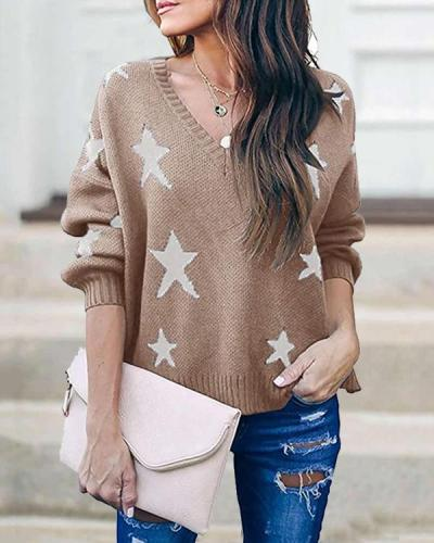 Cotton-blend Pullover V Neck Star Print Casual Loose Sweater