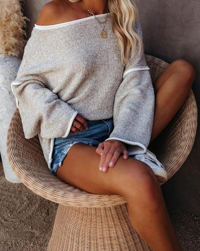 Casual Stitching Flared Sleeve Loose Knit Sweater