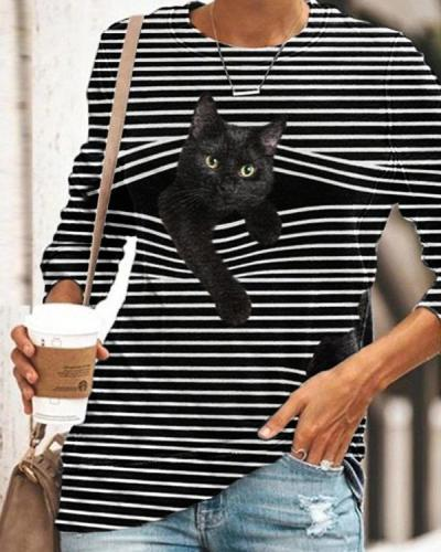 Women Casual Long Sleeve Stripe Cat Printed T-Shirt