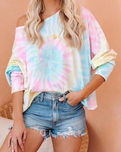 Tie-dye Off Shoulder Loose Sweatshirt Tops