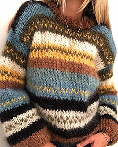 Vintage Striped Round Neck Casual Sweaters