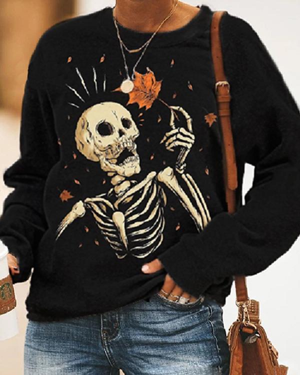 Women's Casual Skeleton Print Cozy Sweatshirt