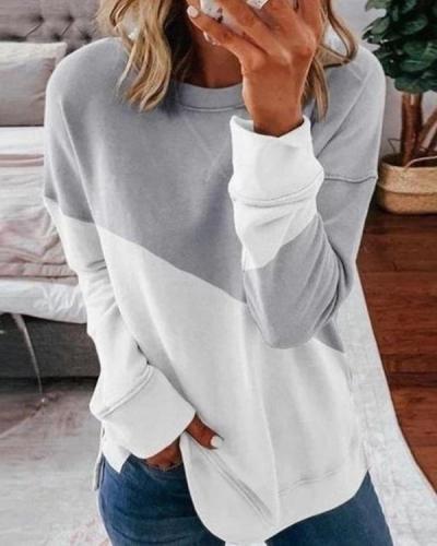 Color Block Round Neck Casual Sweatshirt