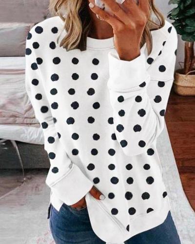 Polka Dots Round Neck Casual Sweatshirt