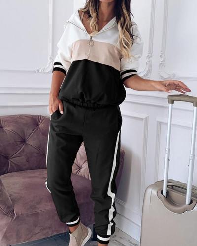 Casual Color Block Zipper Hoodie Sweatshirt&Pants Set