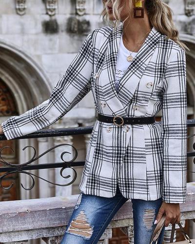 Buttons Plaid Print Blazer Coat