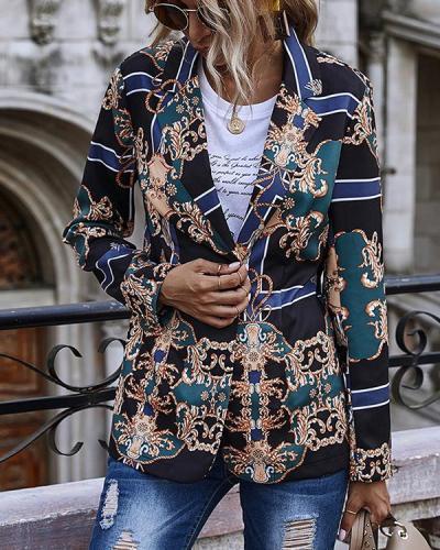 Button Up Retro Print Blazer