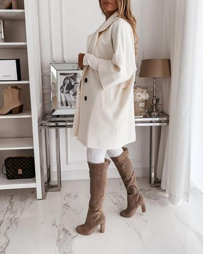 Women's Winter 3/4 Sleeve Button Pockets Lapel Loose Coat