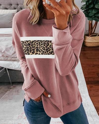 Casual Leopard Crew Neck Floral-Print Sweatshirt