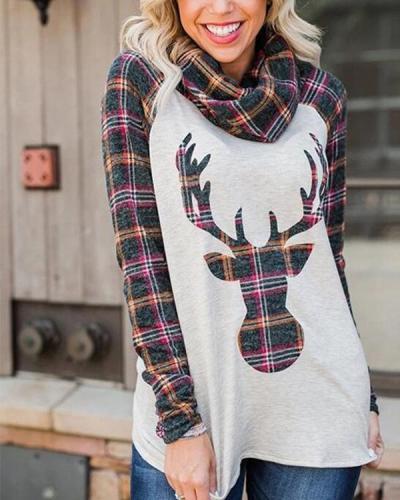 Elk Print Heap Neck Long Sleeves Christmas Blouses