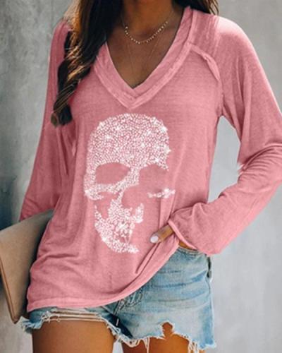 V-Neck Long Sleeves Casual T-shirts